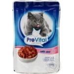 Консервированный корм для взрослых котов PreVital с телятиной 100г