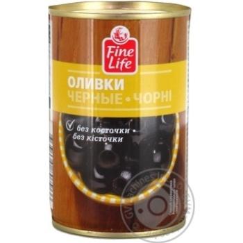 Оливки Fine Life черные консервированные без косточки 300г