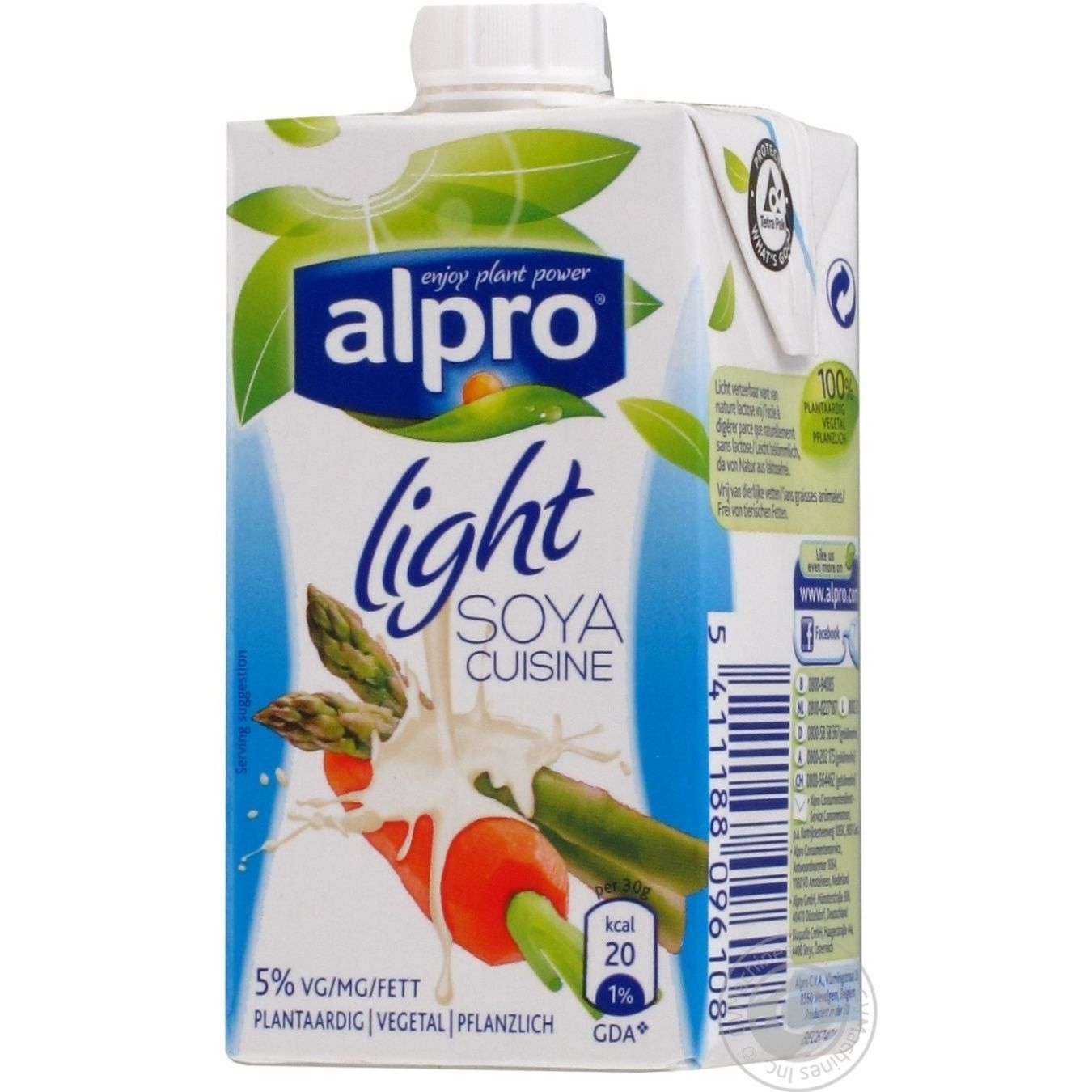 Cream substitute alpro light soya lactose free 250g for Alpro soya cuisine light