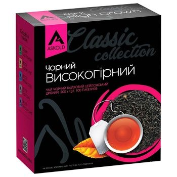 Black pekoe tea Askold High grown 100x2g teabags - buy, prices for Auchan - photo 1