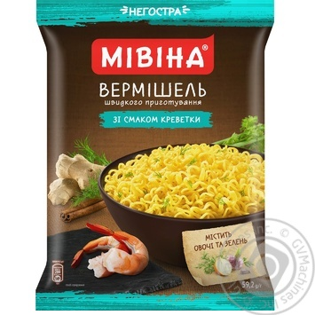 Mivina ready-to-cook with shrimp flavor pasta 59.2g - buy, prices for MegaMarket - image 1