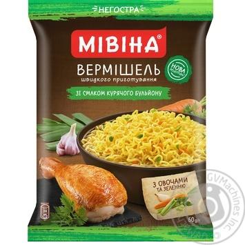Вермішель Мівіна зі смаком курки негостра 60г - купити, ціни на МегаМаркет - фото 1