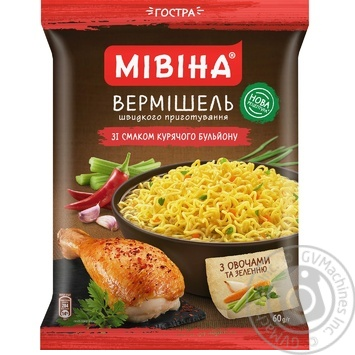 Mivina ready-to-cook hot with chicken vermicelli 60g - buy, prices for MegaMarket - image 1