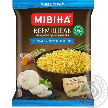 Вермишель МИВИНА® со вкусом Сыра и зелени неострая 60г - купить, цены на Фуршет - фото 1