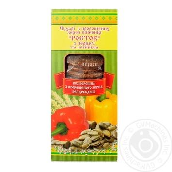 Сухарі УкрЕкоХліб Росток з пророщеної пшениці з перцем та насінням 150г - купити, ціни на Novus - фото 1