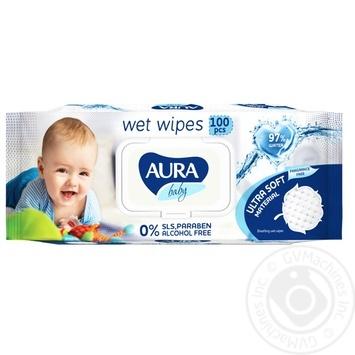Салфетки Aura влажные детские 100шт - купить, цены на Фуршет - фото 1