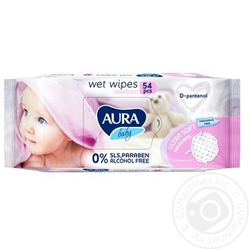 Aura Baby Wet Wipes with D-Pantenol 54pcs