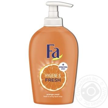 Мыло жидкое Fa Hygiene & Fresh Аромат Апельсина с антибактериальным эффектом 250мл - купить, цены на Восторг - фото 1