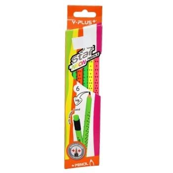 Карандаши чернографитные Y Plus Star Neon НВ 6шт - купить, цены на СитиМаркет - фото 1