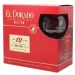 Ром El Dorado 12лет 40% 0,7л + бокал в тубусе