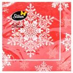 Салфетки столовые Silken НР Новогодняя снежинка 33х33см 18шт