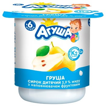 Творог Агуша Груша для детей с 6 месяцев 3.9% 100г - купить, цены на Фуршет - фото 1