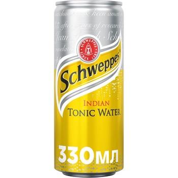 Напій Schweppes Indian Tonic безалкогольний сильногазований з/б 330мл - купити, ціни на МегаМаркет - фото 1
