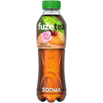 Напій Fuzetea Чай чорний зі смаком персика та троянди безалкогольний негазований 500мл - купити, ціни на Восторг - фото 1