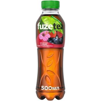Напій Fuzetea Чай чорний зі смаком лісових ягід та гібіскуса безалкогольний негазований 500мл - купити, ціни на Восторг - фото 1