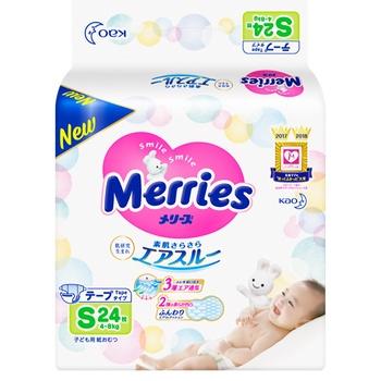 Подгузники для детей Merries S 4-8кг 24шт
