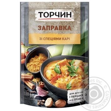 Заправка Торчин со специями карри для вторых и первых блюд 180г - купить, цены на МегаМаркет - фото 1