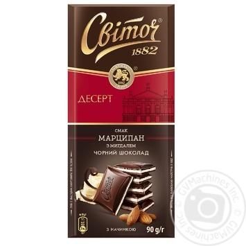 Шоколад СВІТОЧ® Дессерт вкус Марципан черный с начинкой 90г - купить, цены на Ашан - фото 1