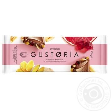 Шоколад Свиточ Gustoria молочный с имбирем, арахисом и желейными кусочками 100г - купить, цены на Novus - фото 1