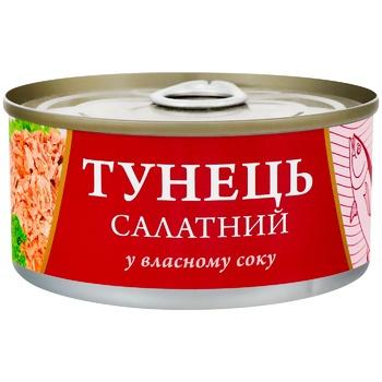 Консерва FishLine Тунец салатный в собственном соку 185г - купить, цены на СитиМаркет - фото 1