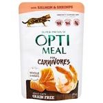 Корм консервований Optimeal беззерновий з лососем та креветками в соусі для котів 85г