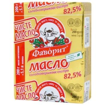 Масло Фаворит Экстра сладкосливочное 82.5% 200г - купить, цены на Фуршет - фото 1