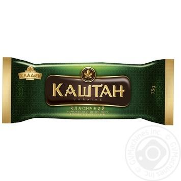 Мороженое Хладик Каштан классический пломбир в кондитерской глазури 12% 75г