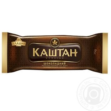 Мороженое Хладик Каштан Шоколадный пломбир шоколадный в кондитерской глазури 12% 75г