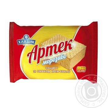 Мороженное-сендвич Хладик Артек со вкусом крем-брюле 75г