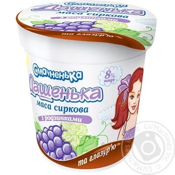 Творожная масса Смачненька Дашенька с изюмом в глазуре 8% 180г - купить, цены на Novus - фото 1