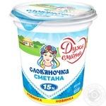 Сметана Слов'яночка 15% 345г - купить, цены на Novus - фото 1