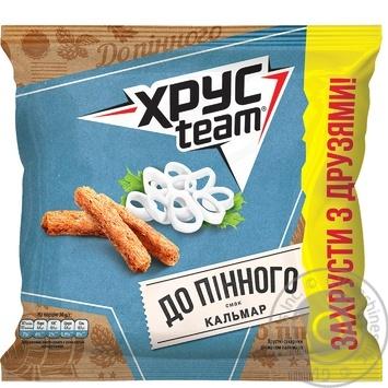 Сухарики Хрусteam пшенично-житні зі смаком кальмара 110г - купити, ціни на ЕКО Маркет - фото 1