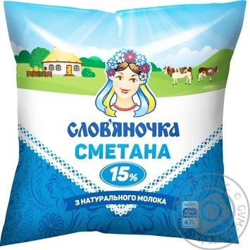 Сметана Слов'яночка 15% 380г - купить, цены на Novus - фото 1