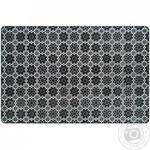 Коврик Zeller Цветы под тарелку черный пластик 43.5х28.5см