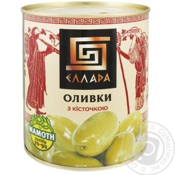 Оливки Ellada зеленые с косточкой жестяная банка 850мл - купить, цены на Novus - фото 1