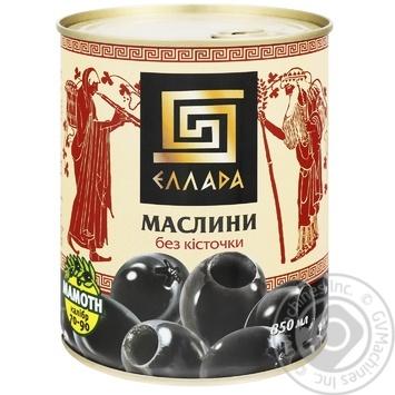 Оливки Ellada чорні без кісточки 850мл - купити, ціни на Novus - фото 1