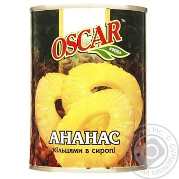 Ананасы Оскар кольцами в сиропе 565г - купить, цены на Фуршет - фото 1