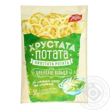 Snack Zhayvir Khrustata potata onion with taste of sour cream 50g packaged