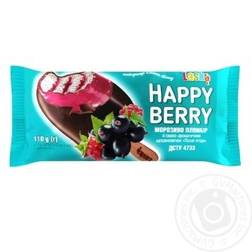 Мороженое Laska Happy Berry эскимо пломбир с наполнителем Лесные ягоды 110г