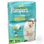 Подгузники-трусики Pampers Active Boy Maxi 9-14 кг для мальчиков Джамбо 52шт