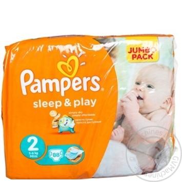 Пiдгузники Pampers Sleep & Play 2 Mini 3-6кг Джамбо 88шт