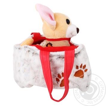 Іграшка Собачка чихуахуа коричневий з сумочкою в платті Тигрес