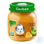 Puree Gerber Apple-Pear without starch and sugar for 4+ month old babies glass jar 130g Poland