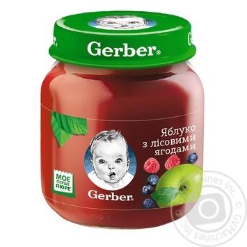 Пюре Гербер яблоко с лесными ягодами без крахмала и сахара для детей с 5 месяцев 130г
