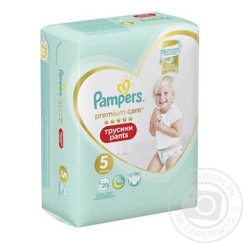 Подгузники-трусики Pampers Premium Care Pants размер 5 Junior 12-17кг 20шт - купить, цены на Ашан - фото 2