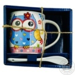 Milika Owl Blue Mug with spoon 350ml