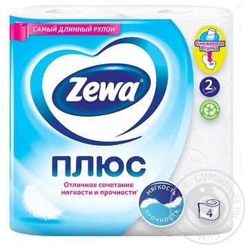 Туалетная бумага Zewa Плюс белый 2-х слойная 4шт - купить, цены на Восторг - фото 2