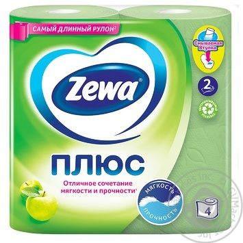 Zewa Plus Toilet paper apple flavor 2 layers 4pcs - buy, prices for Novus - image 2