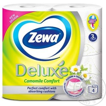 Папір туалетний Zewa Deluxe Camomile Comfort білий 3-х шаровий 4шт - купити, ціни на Ашан - фото 2