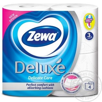 Zewa Deluxe Delicate Care 3-ply white toilet paper 4pcs - buy, prices for MegaMarket - image 2